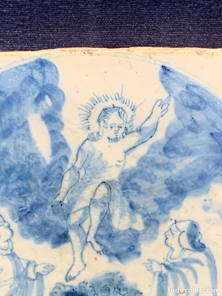 Antigüedades: RARA PLACA CERAMICA AZULEJO DELFT HOLANDA S XVIII MOTIVO RELIGIOSO RESURRECCION CRISTO SEÑOR 13X13CM - Foto 3 - 248128670