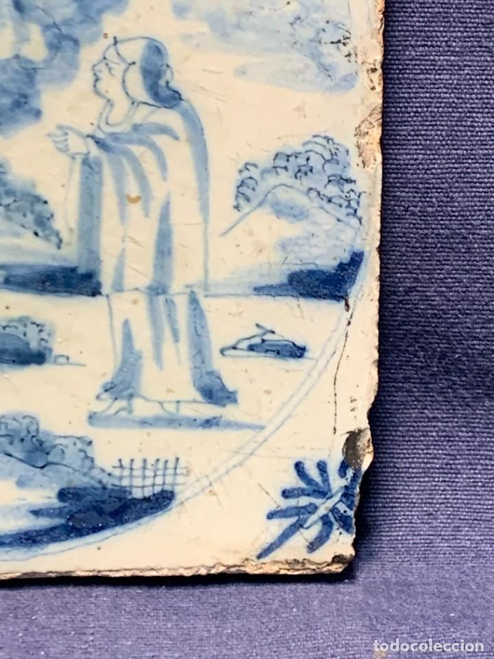 Antigüedades: RARA PLACA CERAMICA AZULEJO DELFT HOLANDA S XVIII MOTIVO RELIGIOSO RESURRECCION CRISTO SEÑOR 13X13CM - Foto 8 - 248128670