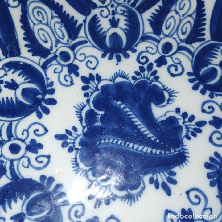 Antigüedades: PLATO. LOZA ESMALTADA DE DELFT. CON MARCAS WVDB. HOLANDA. SIGLO XVIII - Foto 7 - 248153985