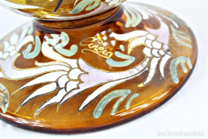 Antigüedades: Gran y único porrón o jarra en cristal soplado y esmaltado. Genís Cirera. (1890-1970) 39x20cm - Foto 2 - 248222280