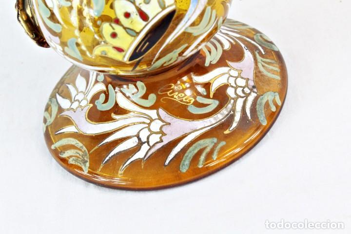 Antigüedades: Gran y único porrón o jarra en cristal soplado y esmaltado. Genís Cirera. (1890-1970) 39x20cm - Foto 3 - 248222280