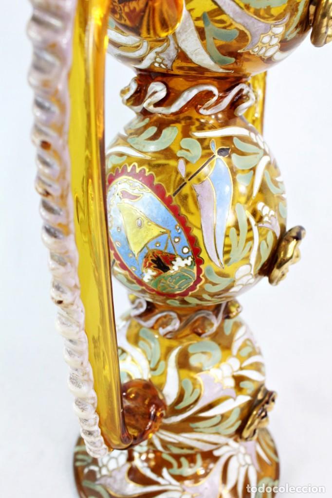 Antigüedades: Gran y único porrón o jarra en cristal soplado y esmaltado. Genís Cirera. (1890-1970) 39x20cm - Foto 4 - 248222280