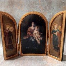 Antigüedades: TRÍPTICO RETABLO RELIGIOSO VIRGEN NIÑO MADERA PAN DE ORO. Lote 248228990