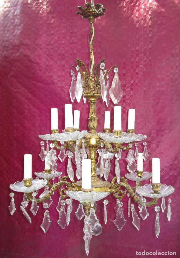 Antigüedades: ESPECTACULAR LAMPARA 2 PISOS MARIA TERESA EN BRONCE Y CRISTAL TIENDA PALACIO SALON - Foto 5 - 248352150