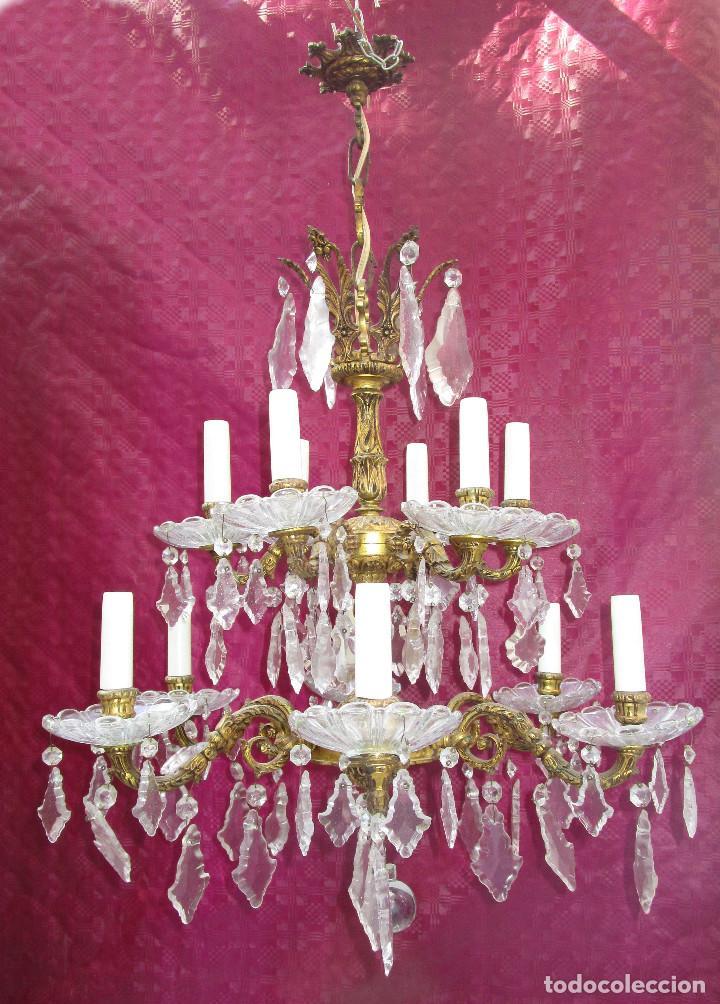 Antigüedades: ESPECTACULAR LAMPARA 2 PISOS MARIA TERESA EN BRONCE Y CRISTAL TIENDA PALACIO SALON - Foto 2 - 248352150