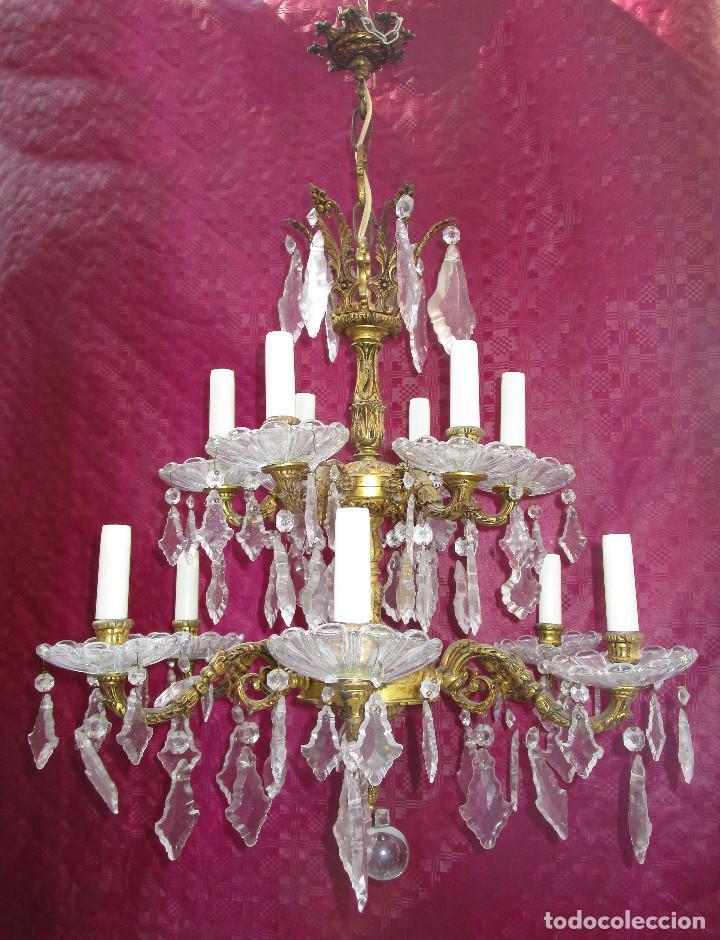 Antigüedades: ESPECTACULAR LAMPARA 2 PISOS MARIA TERESA EN BRONCE Y CRISTAL TIENDA PALACIO SALON - Foto 3 - 248352150
