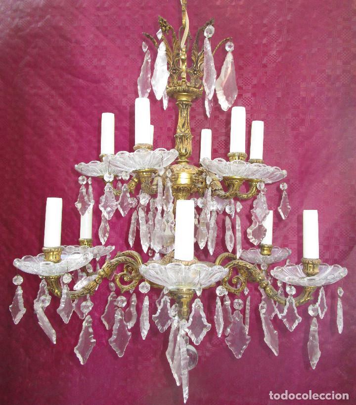 Antigüedades: ESPECTACULAR LAMPARA 2 PISOS MARIA TERESA EN BRONCE Y CRISTAL TIENDA PALACIO SALON - Foto 4 - 248352150