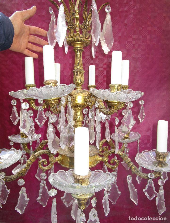 ESPECTACULAR LAMPARA 2 PISOS MARIA TERESA EN BRONCE Y CRISTAL TIENDA PALACIO SALON (Antigüedades - Iluminación - Lámparas Antiguas)