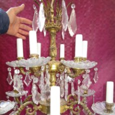 Antigüedades: ESPECTACULAR LAMPARA 2 PISOS MARIA TERESA EN BRONCE Y CRISTAL TIENDA PALACIO SALON. Lote 248352150