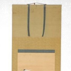 Antigüedades: ANTIGUO PERGAMINO COLGANTE PINTADO A MANO. JAPÓN. Lote 248454320