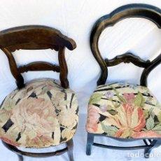 Antigüedades: 2 SILLA ISABELINAS DISTINTAS CON EL MISMO TAPIZADO. Lote 248469830