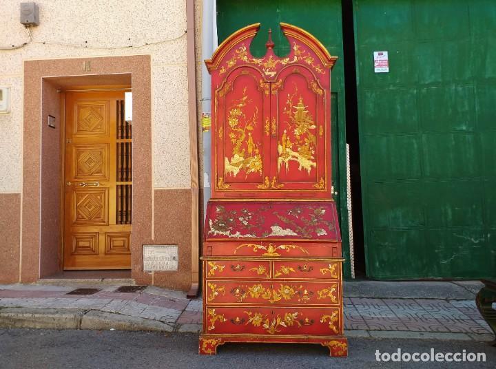 Antigüedades: Bureau antiguo inglés estilo chino. Escritorio secreter buró estantería librería japonés oriental. - Foto 3 - 248508540