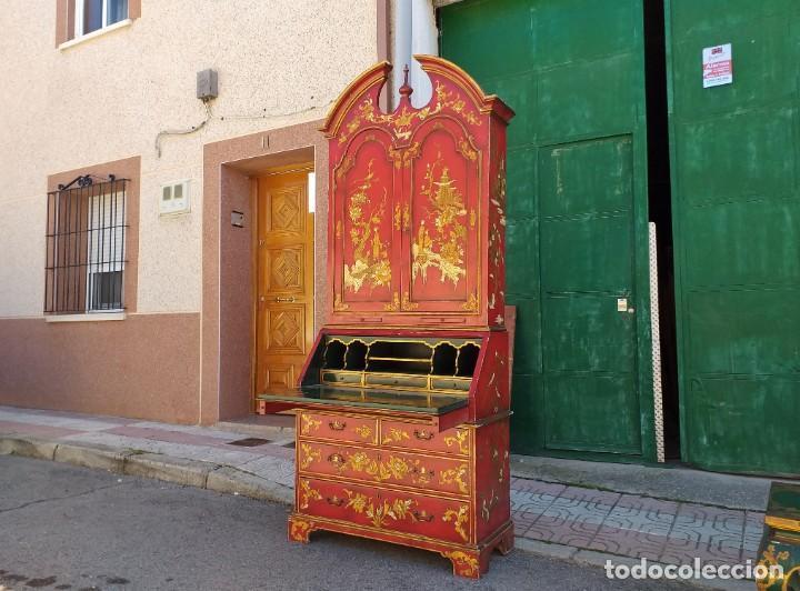 Antigüedades: Bureau antiguo inglés estilo chino. Escritorio secreter buró estantería librería japonés oriental. - Foto 4 - 248508540