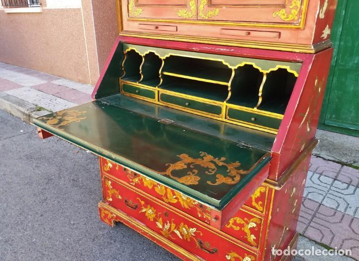 Antigüedades: Bureau antiguo inglés estilo chino. Escritorio secreter buró estantería librería japonés oriental. - Foto 6 - 248508540