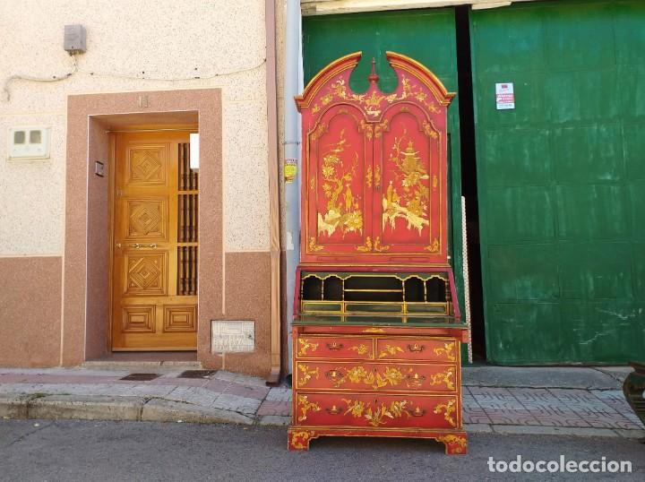 Antigüedades: Bureau antiguo inglés estilo chino. Escritorio secreter buró estantería librería japonés oriental. - Foto 7 - 248508540