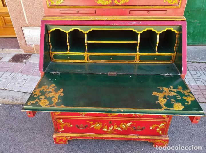Antigüedades: Bureau antiguo inglés estilo chino. Escritorio secreter buró estantería librería japonés oriental. - Foto 10 - 248508540
