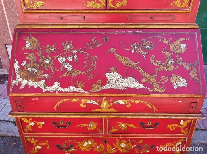 Antigüedades: Bureau antiguo inglés estilo chino. Escritorio secreter buró estantería librería japonés oriental. - Foto 13 - 248508540