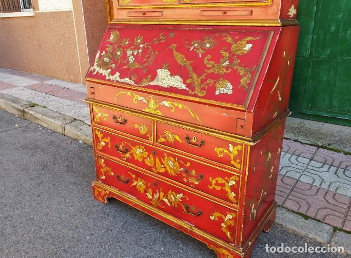 Antigüedades: Bureau antiguo inglés estilo chino. Escritorio secreter buró estantería librería japonés oriental. - Foto 14 - 248508540