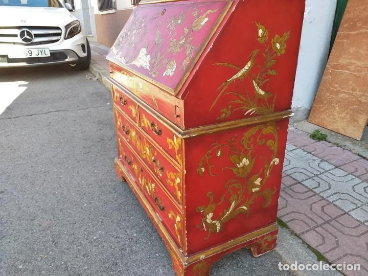 Antigüedades: Bureau antiguo inglés estilo chino. Escritorio secreter buró estantería librería japonés oriental. - Foto 15 - 248508540
