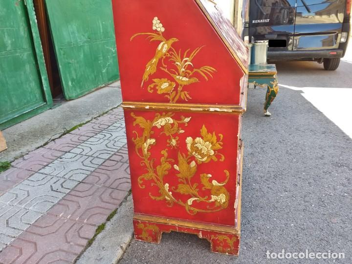 Antigüedades: Bureau antiguo inglés estilo chino. Escritorio secreter buró estantería librería japonés oriental. - Foto 16 - 248508540