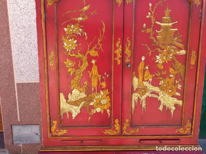 Antigüedades: Bureau antiguo inglés estilo chino. Escritorio secreter buró estantería librería japonés oriental. - Foto 17 - 248508540
