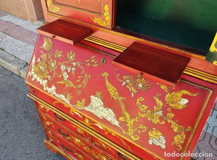 Antigüedades: Bureau antiguo inglés estilo chino. Escritorio secreter buró estantería librería japonés oriental. - Foto 22 - 248508540