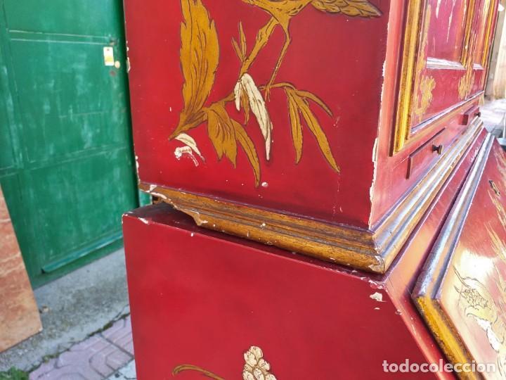 Antigüedades: Bureau antiguo inglés estilo chino. Escritorio secreter buró estantería librería japonés oriental. - Foto 23 - 248508540