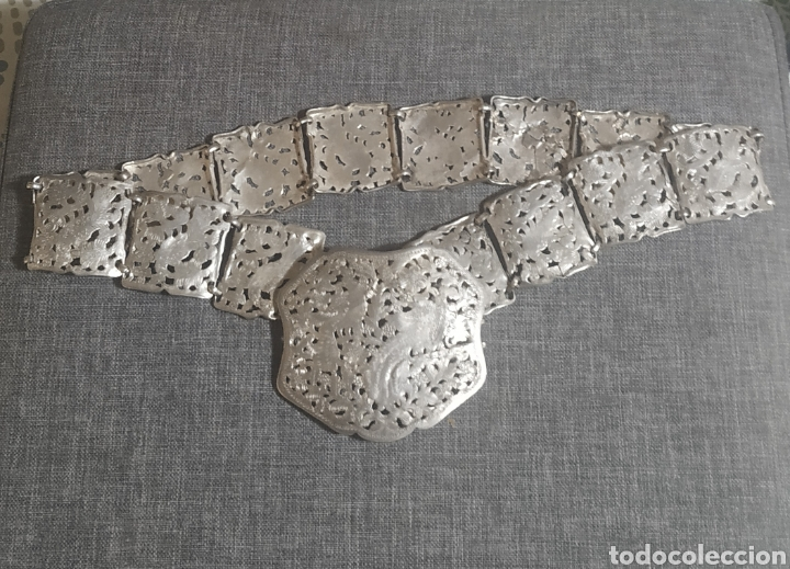 CINTURÓN DE PLATA VIEJA, ARTESANAL (Antigüedades - Plateria - Varios)