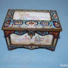 Antigüedades: ANTIGUA CAJA JOYERO S.XIX EN PORCELANA CLOISONNE. Lote 248759110