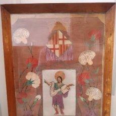 Antigüedades: ANTIGUO CUADRO DE TELA ADORNOS BORDADOS, CORONA REPUBLICANA, SAN PANCRACIO, ESCUDO, VISCA CATALUNYA. Lote 248794785