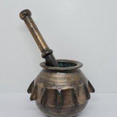 Antigüedades: DE MUSEO,MAGNIFICO ALMIREZ,MORTERO DE COSTILLAS EN BRONCE HISPANO MORISCO,S. XV-XVI. Lote 248800780