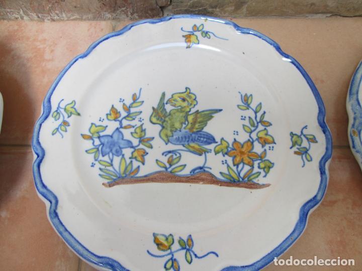 Antigüedades: Lote de Cerámica- Loza de Alcora, 2 platos hondos, 2 platos llanos y 2 de postre. - Foto 7 - 248818385