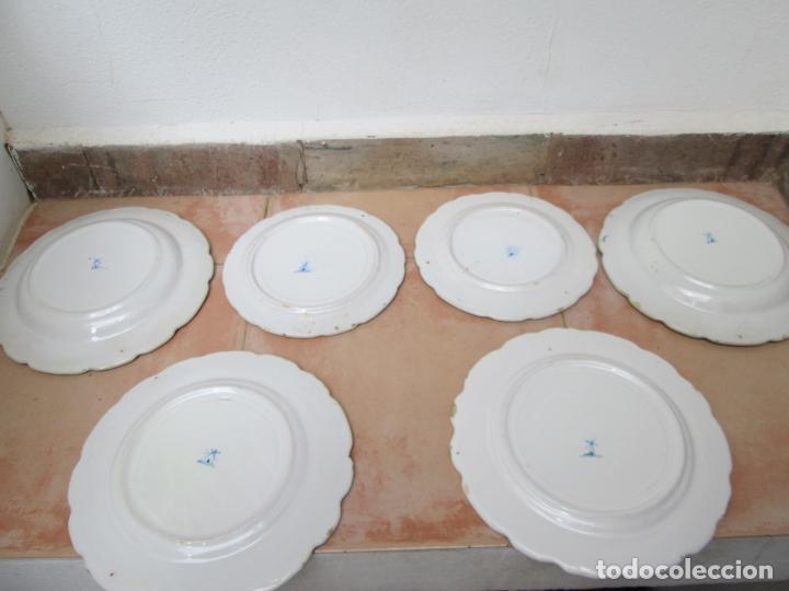 Antigüedades: Lote de Cerámica- Loza de Alcora, 2 platos hondos, 2 platos llanos y 2 de postre. - Foto 11 - 248818385