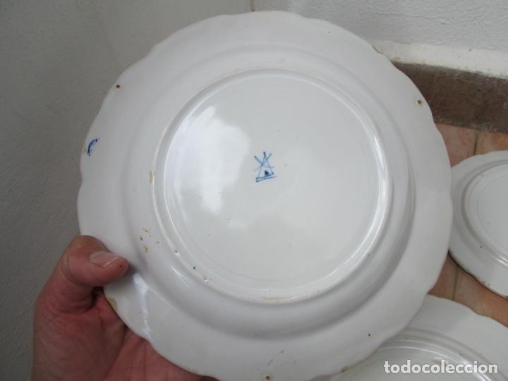Antigüedades: Lote de Cerámica- Loza de Alcora, 2 platos hondos, 2 platos llanos y 2 de postre. - Foto 16 - 248818385