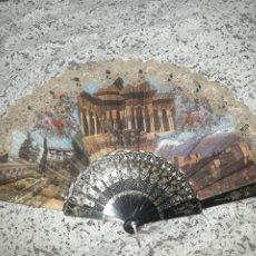 Antigüedades: ABANICO EN TELA Y ENCAJE DE CHANTILLÍ. Lote 248832440