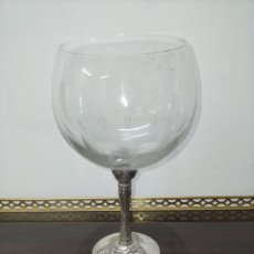 Antiquités: COPA DE CRISTAL BOHEMIA Y PLATA. Lote 248936985