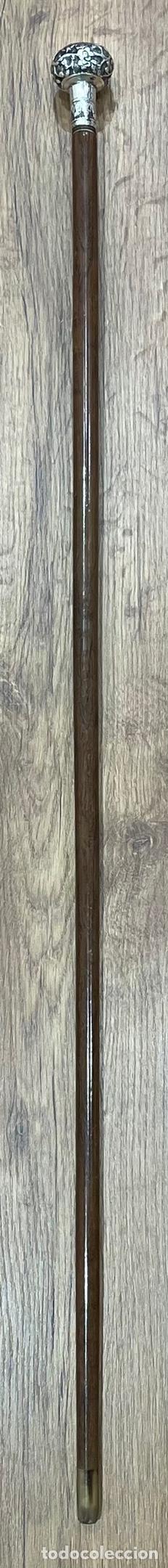 Antigüedades: Antiguo bastón con mango de plata de ley, y vara en madera noble. Finales S.XIX - Foto 3 - 248993780