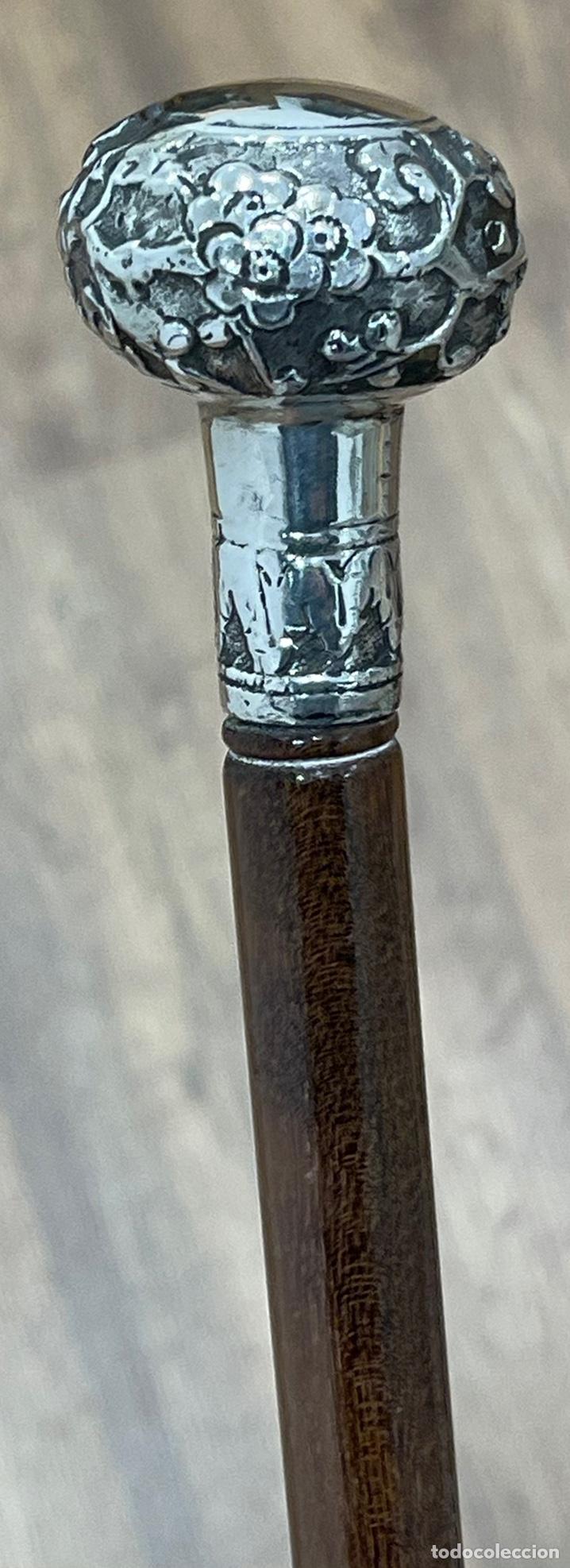 Antigüedades: Antiguo bastón con mango de plata de ley, y vara en madera noble. Finales S.XIX - Foto 8 - 248993780