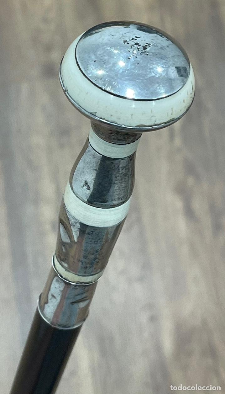 Antigüedades: Antiguo bastón Art Deco, con mango de plata y marfil, y vara en madera ebonizada. - Foto 7 - 248995115