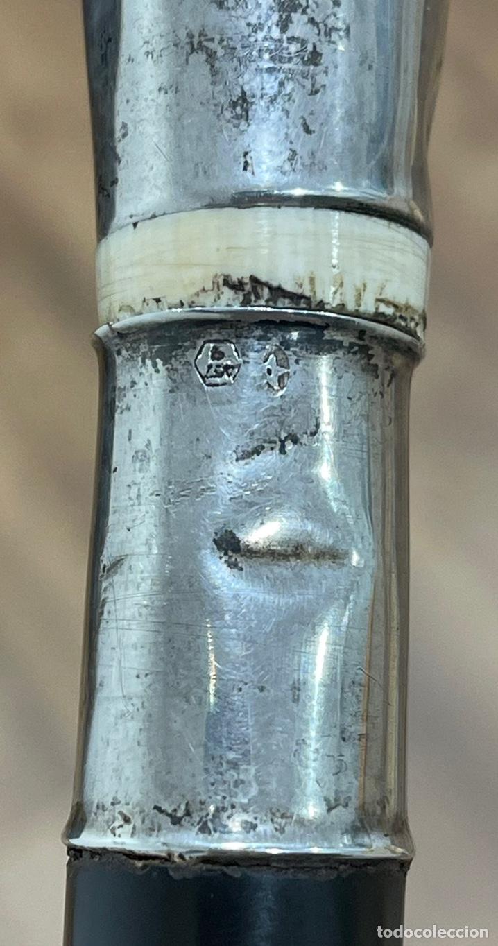 Antigüedades: Antiguo bastón Art Deco, con mango de plata y marfil, y vara en madera ebonizada. - Foto 8 - 248995115