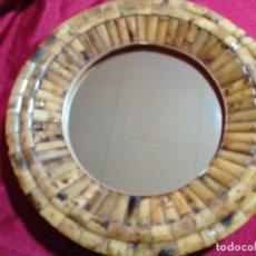 Antigüedades: ESPEJO DE BAMBU Y MADERA. Lote 249004075