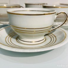 Antigüedades: ANTIGUO JUEGO CAFÉ PORCELANA SANTA CLARA (MAH) 6 TAZAS Y 6 PLATOS. VARIOS FILOS ORO. 1ERA MITAD SXX.. Lote 249067920