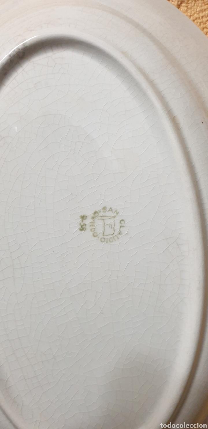 Antigüedades: 5 bandejas de porcela con dibujos en oro de San claudio oviedo - Foto 2 - 249098885