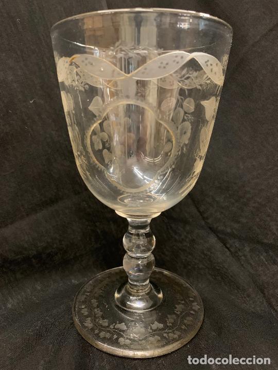 ENCANTADORA COPA DE CRISTAL DE LA GRANJA. MIDE UNOS 15CMS ALTURA X 8,3CMS DIAMETRO (Antigüedades - Cristal y Vidrio - La Granja)