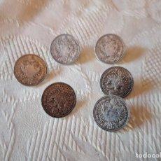 Antigüedades: LOTE DE 6 ANTIGUO BOTONES DE NÍQUEL ,ESCUDO REAL 1780 BURG COTYR ARCHID AVUX X. Lote 249227800