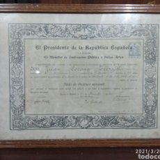 Antiquités: DIPLOMA DE LA REPÚBLICA ESPAÑOLA. Lote 249231320