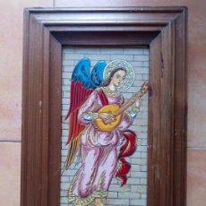 Antigüedades: AZULEJO ARCANGEL ANGEL MUSICO CON LAUD. Lote 249384520