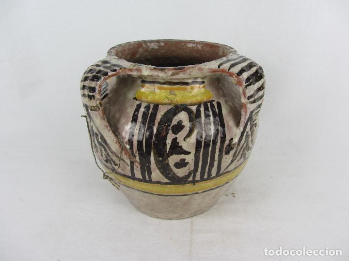 Antigüedades: Jarra en cerámica de doble asa posiblemente Puente del Arzobispo - s.XIX - Foto 2 - 249493145
