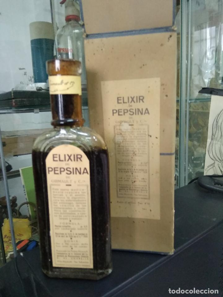 ELIXIR PEPSINA GRIMAULT. VITRINA CORREOS (Antigüedades - Cristal y Vidrio - Farmacia )