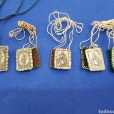 Antigüedades: LOTE 5 ESCAPULARIOS ,VIRGEN DEL CARMEN. Lote 249540800